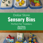 Dollar store sensory bins perfect for toddlers.