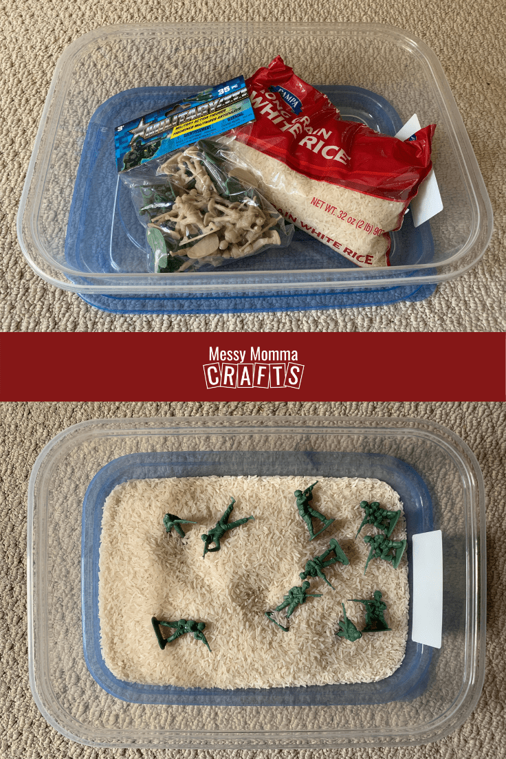 Sensory bin with rice and army men.