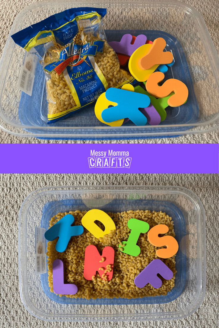 Sensory bin for toddlers with pasta and alphabet letters.