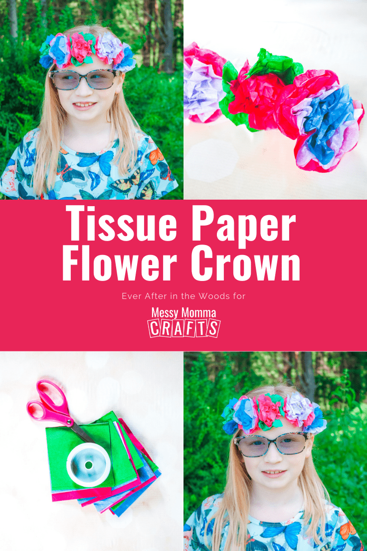 Collage of photos of a child wearing a tissue paper flower crown.