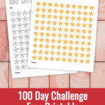 Preview of two pages of 100 day challenge printable of numbered stars on pink tile background.