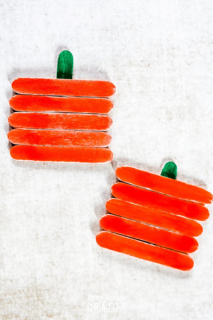 2 popsicle stick pumpkins