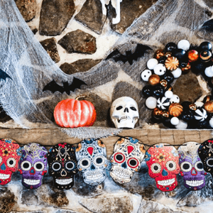 Colorful painted skull Halloween decor.