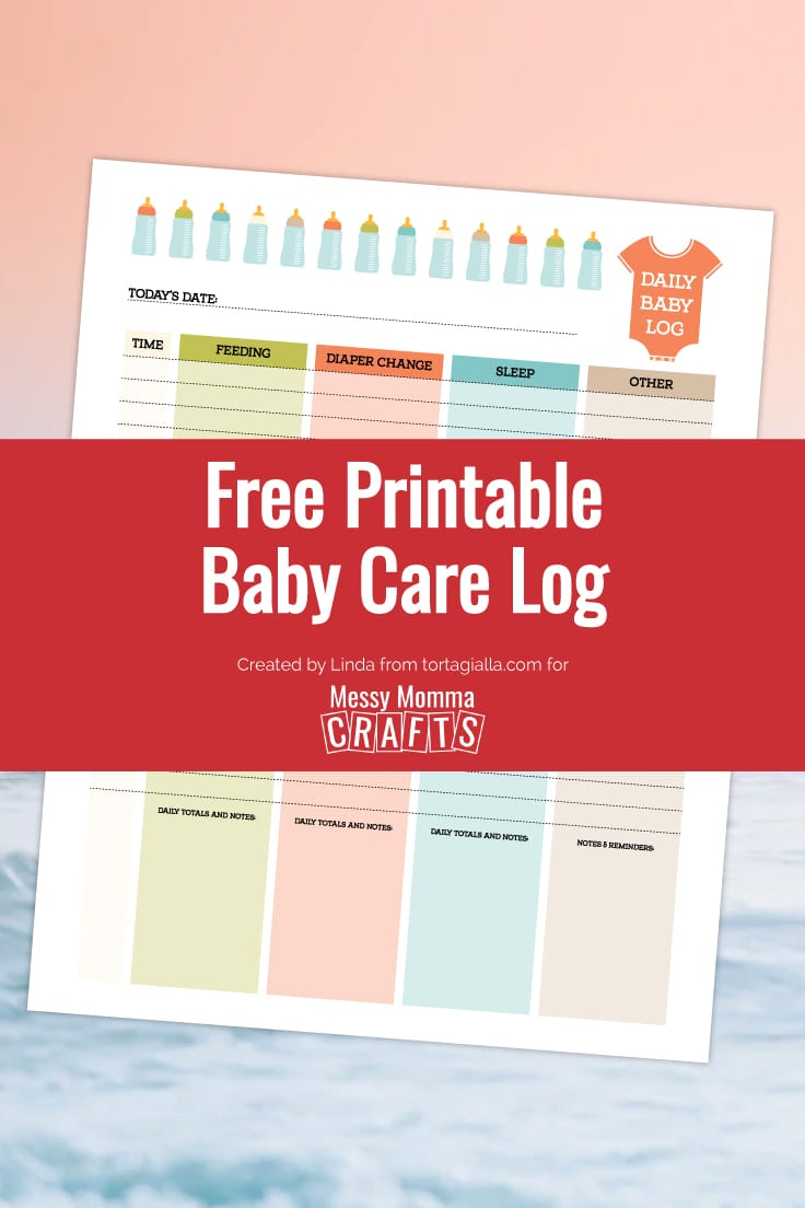 Preview of daily baby care log printable on peach and grey background.