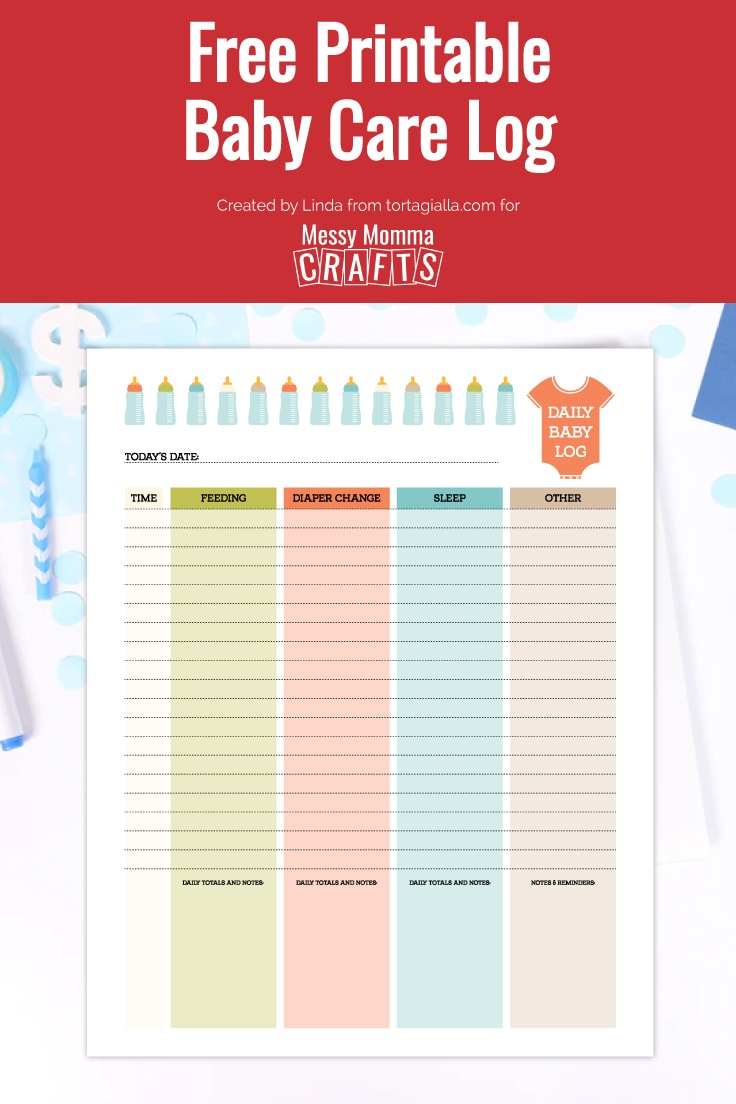 Preview of daily baby care log printable on desk with light blue stationery items.