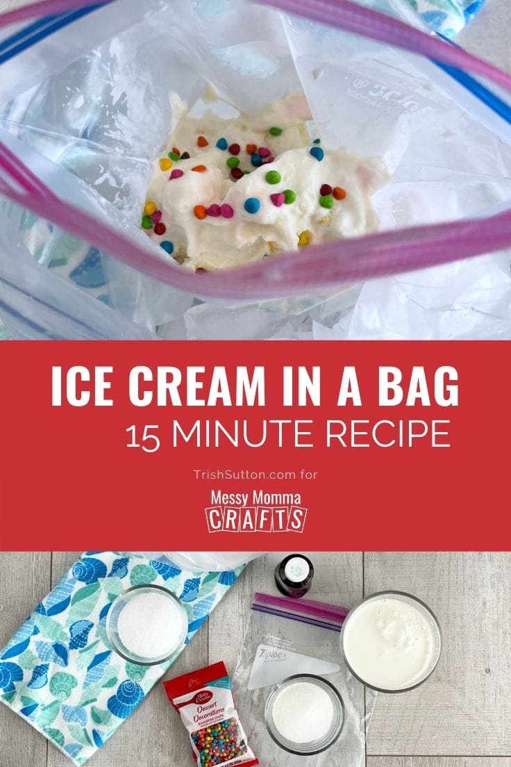 Collage of Ice Cream in a bag recipe; image of ice cream on top and ingredients on bottom.