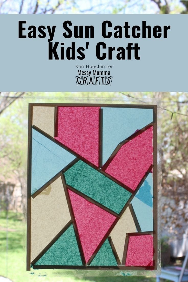 Easy sun catcher kids' craft using tissue paper and adhesive backing.