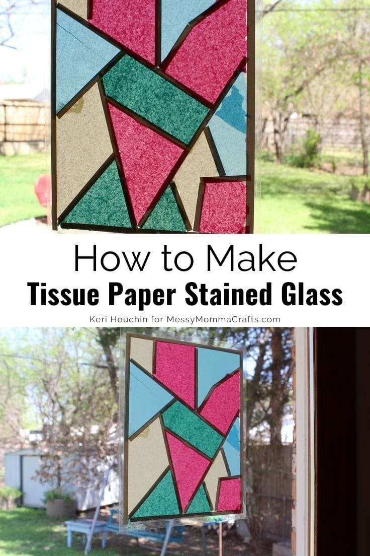How to make tissue paper stained glass in a rectangle stuck to a window.