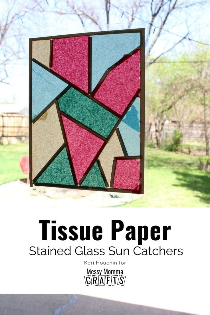 Tissue paper stained glass sun catchers using pink, blue, yellow, and great paper in geometric shapes.