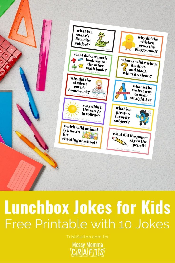Free Printable Lunchbox Jokes for Kids with school supplies.