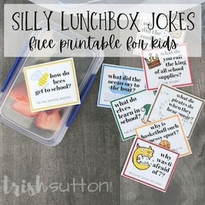 Silly lunch box jokes from Trish Sutton.