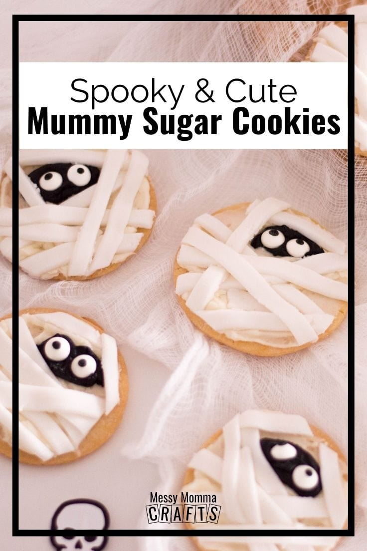 Spooky cute mummy sugar cookies.